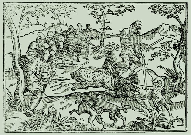 Grabado representando el acto final de la caza del jabalí. De la edición del Libro de la Montería de Andrea Pescioni (Sevilla, 1582)