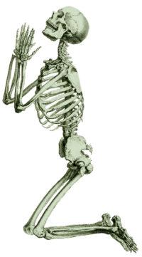 "CHESELDEN, William: ""Human skeleton knelling in prayer"" (1733); en: Osteographia (lám. XXXVI) Vía Wikimedia Commons"